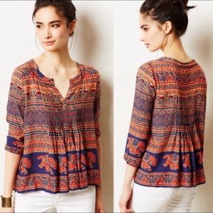 Vanessa Virginia Mahdia Elephant Pleated Boho Top